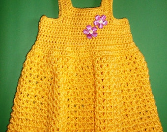 Yellow Crochet Girls Dress