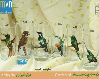 Garden of Hummingbirds,  set of glasses, artistic glassware, set of hand painted glasses