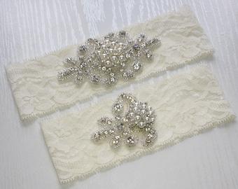 RACHEL II - Pearl Wedding Garter Set, Wedding Ivory Stretch Lace Garter, Rhinestone Crystal Bridal Garters