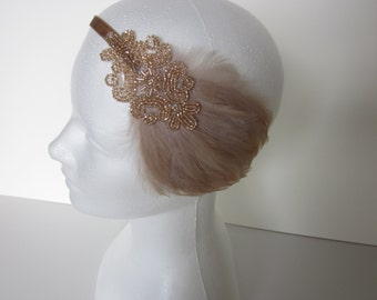 Beige feather headband, champagne headpiece, 1920s headband, flapper headband, great gatsby headband, Art Deco headband, feather headband