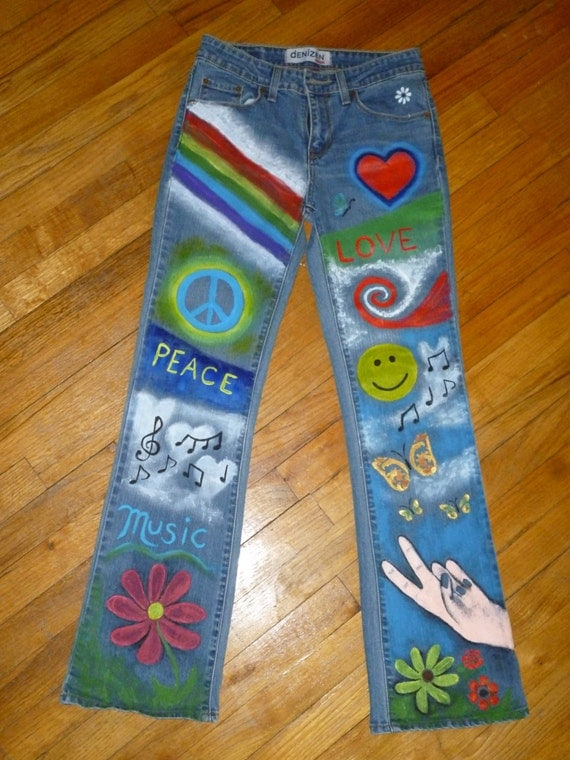 colorful hand painted hippie jeans. Black Bedroom Furniture Sets. Home Design Ideas