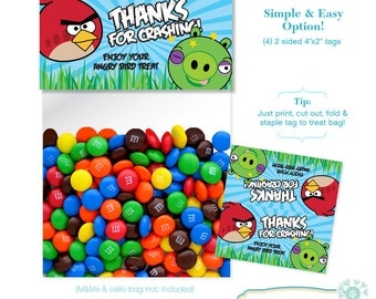 INSTANT DOWNLOAD - Angry Birds Treat Bag Toppers - Digital File