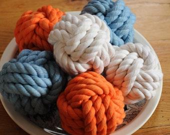 Nautical Decor - Orange - Aqua Blue - White - Nautical Cotton Knots - Nautical Gift - Knots In A Bowl -