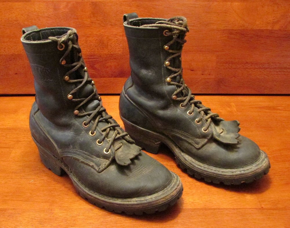 vintage white s 9 inch packer boots