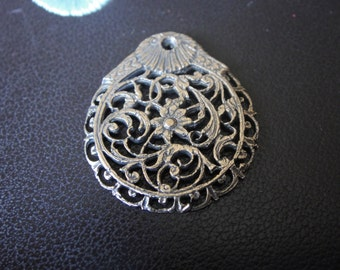 solid bronze filigree charm or pendant,antique bronze filigree pendant
