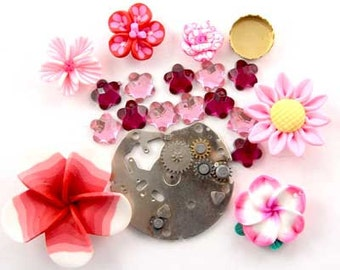 Steampunk Watch Part, Fimo Flower, Glass, Brass, Enchanted Flower Garden Bead Set 16951
