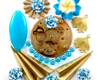 Steampunk Watch Part, Fimo Flower, Blue Jade, Glass, Enchanted Flower Garden Bead Set  16929
