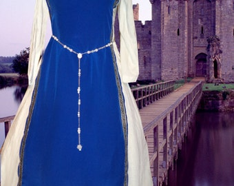 FREE SHIP Medieval SCA Garb Renaissance Gown FauxSilk Tabard Ctn Kirtle RoyalWht2pc Sdlacg Sz Flex lxl