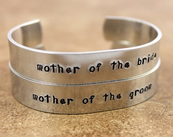 Mother of the Bride Bracelet / Mother of the Groom Bracelet / Wedding Gift Set / Custom Hand Stamped Bracelet / Mother Wedding Gift