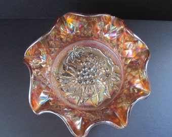 Carnival Glass Bowl with Grapes Design