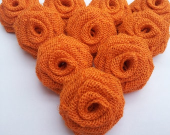Orange Burlap Roses,  Orange Burlap Flowers, Orange burlap, Burlap Flowers, Burlap Roses , Rustic wedding decor
