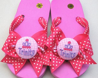 GIRLS FLIP FLOPS, Perfect Gifts, Children & Kids, Dot Ribbon Wrapped Straps, Matching Bows, Princess Crown, Personalized, Custom, Flats