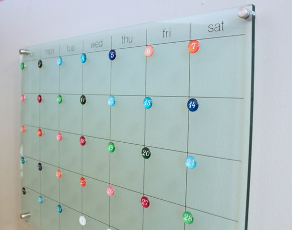 Dry Erase Wall Mount Calendar New Magnets Sold Separately