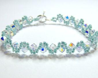 Mint wedding bracelet, sea green bracelet, swarovski bracelet, wedding bracelet, seed bead bracelet, bridal bracelet, bicone bracelet BR002