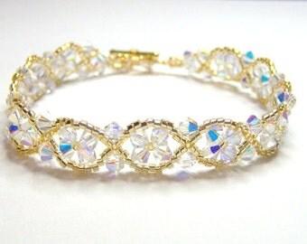 Crystal and gold bracelet, bridal bracelet, wedding bracelet, swarovsk beadwork bracelet, crystal bracelet, criss cross bracelet BR005