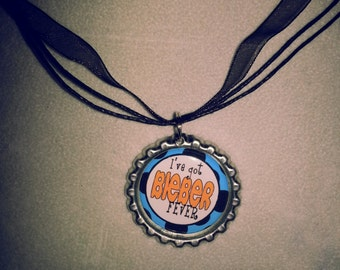 Bieber Fever Bottle Cap Pendant with Black Organza and Cord Necklace