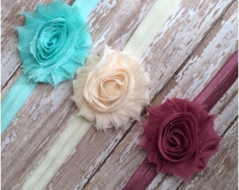 Set of 3 Shabby Chic Flower Headbands, Baby Headbands, Toddler Headbands, Girls Headbands, Adult Headbands, Baby Girls Hair Bow Set, Bows
