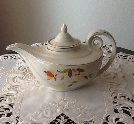 Hall's Superior Kitchenware china tea pot, autumn leaf pattern with infuser
