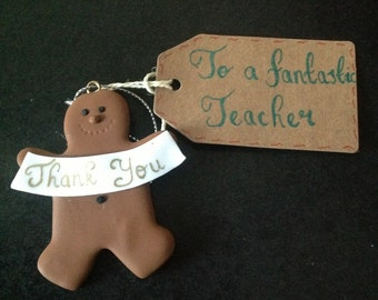 Fimo Gingerbread man thank you hanging decoration