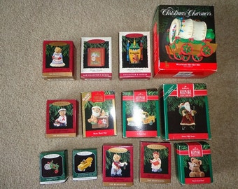 Older Hallmark Christmas ornaments,taxi,bears,covered wagon,etc.excellent shape