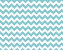 Aqua Small Chevron Riley Blake Aqua White Chevron - Choose Your Cut - Fabric Cotton