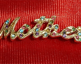 Sweet 1960's Mother's Brooch Pin Gold Tone With Multi Colored Rhinestones - Free Shipping
