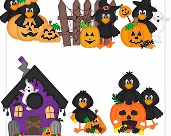 DIGITAL SCRAPBOOKING CLIPART - Halloween Crows