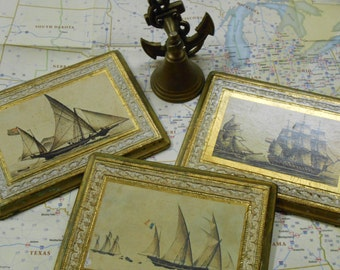 SALE Vintage Ship Plaques (hand made in Italy)  Italia