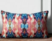 SALE -Colorful Ikat lumbar pillow made with cotton linen-decorative ikat line pillow -colorful ikat design pillow -colorful pillow cover - Ideccor
