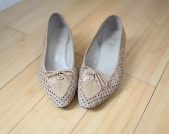 vintage tan woven leather wedge womens  5 1/2 *