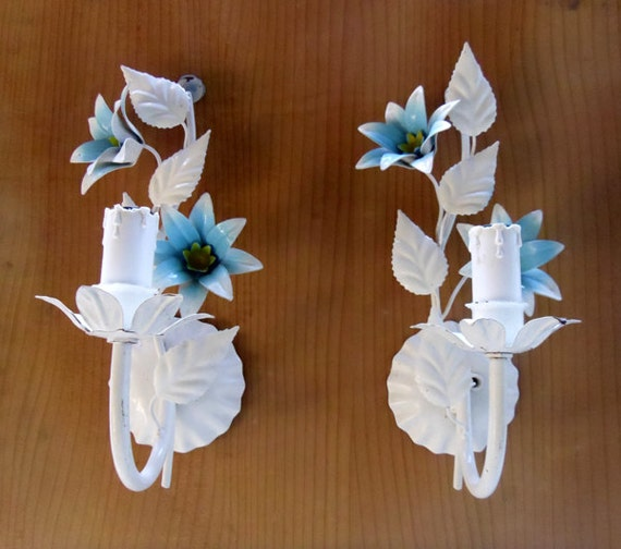 Vintage wall lights vintage French White and blue enamel