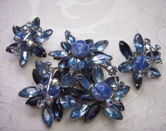 Azure Blue Thermoset and Rhinestone Brooch Pin and Earrings Set - Vintage Demi Parure