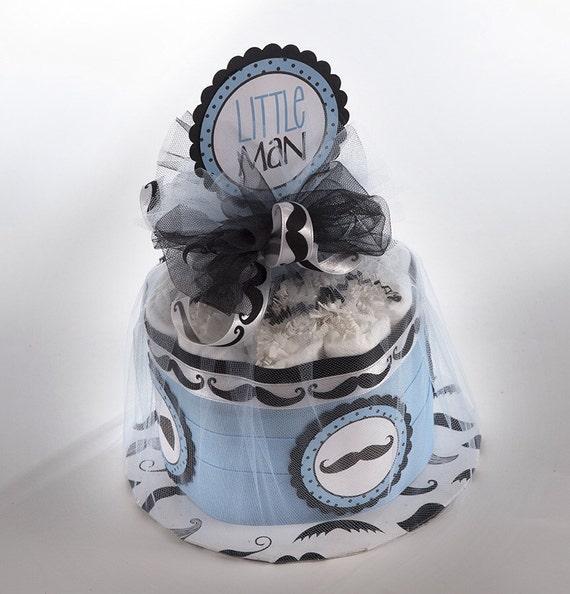 Diaper Cake - Mini Diaper Cake - Little Man Diaper Cake - Mustache Diaper Cake - Baby Shower Gift - Little Man Baby Shower