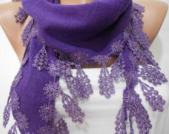 Purple cowl scarf. Shawl. Violet wedding scarf. Linen scarf. Women scarf. Gift . Scarves. Fashion scarf.  Accessories. For Her. ScarfClub