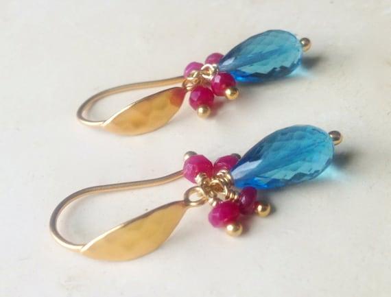 London Blue Topaz Earrings  Genuine Ruby Earrings  July birthstone  December Birthstone Unique Gift, Blue Topaz Dangle Earring
