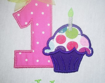 First Birthday Cupcake Personalized Birthday Shirt Pokadot Purple Pink and Green with Bow
