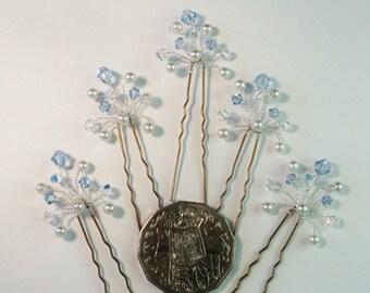Lt Sapphire Swarovski Crystal Hair Pins, Sapphire Bridal Hair Pins, Blue Wedding Hair Accessories, Blue Bridesmaid Hair Accessories