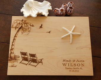 Custom Cutting Board Beach Chair Destination Wedding Present Coastal Decor Personalized Family Names