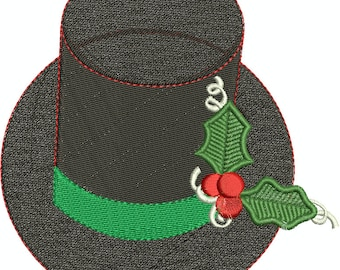 Holiday Top Hat with Holly Machine Embroidery