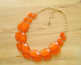 Orange statement necklace, Chunky Burnt orange double strand necklace