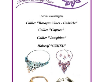 Bead embroidery jewelry templates 4 PCs  Jewelry templates of eBook PDF
