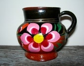 "Little Handpainted Mexican Redware Pitcher Pot   -- measures 31/2"" tall by 4"" wide --"