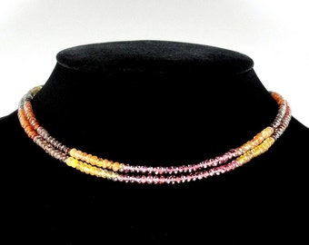 Natural Quality Tundra Sapphire Bead 4mm Necklace 17 inches Ready to wear metal clasp(2274)