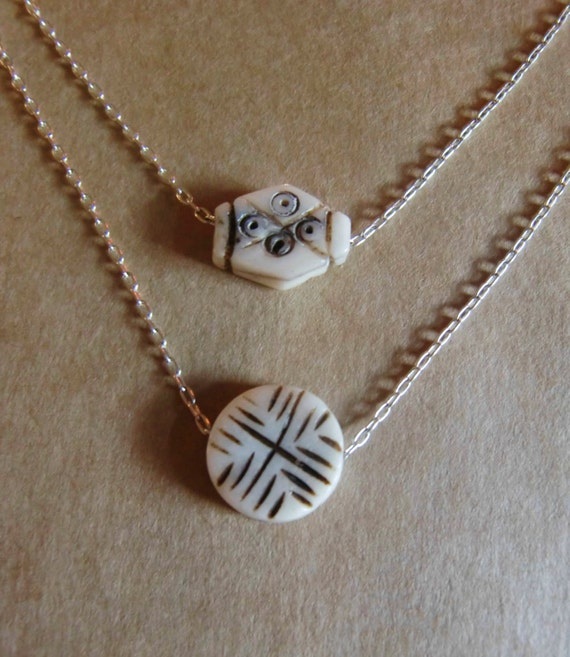 Double Strand Carved Bone Necklace
