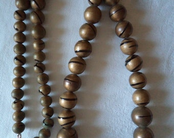 Vintage  1980s Brown Marbled Graduated Beads Necklace