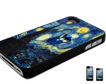 Starry Night Tardis iPhone 4, 4s, 5, 5s, 6, 6s, 6/6s Plus or Galaxy S3 S4 S5 S6 S7 Note 2 Note 3, Note 4 Note 5 Back Case Cover