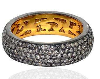 Victorian 5.20ct natural rose cut diamond Band, Free Shipping
