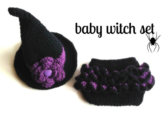 Crochet Baby Witch Hat & Diaper Cover Set Photo by ...