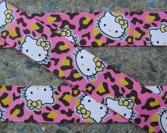 Leopard Printed Ribbon Kitty Printed Ribbon hair bow ribbon hair bow supplies Pink and Yellow Kitty Ribbon
