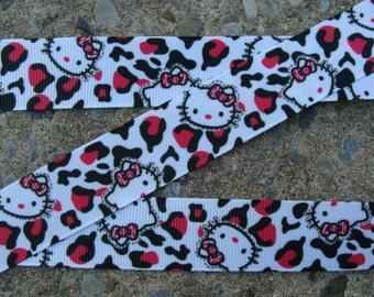 Leopard Printed Ribbon Kitty Printed Ribbon hair bow ribbon hair bow supplies
